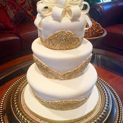White & Gold Pearls Wedding Cake