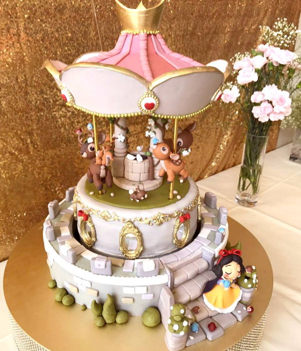 Snow White Themed Automated Carousel Cake