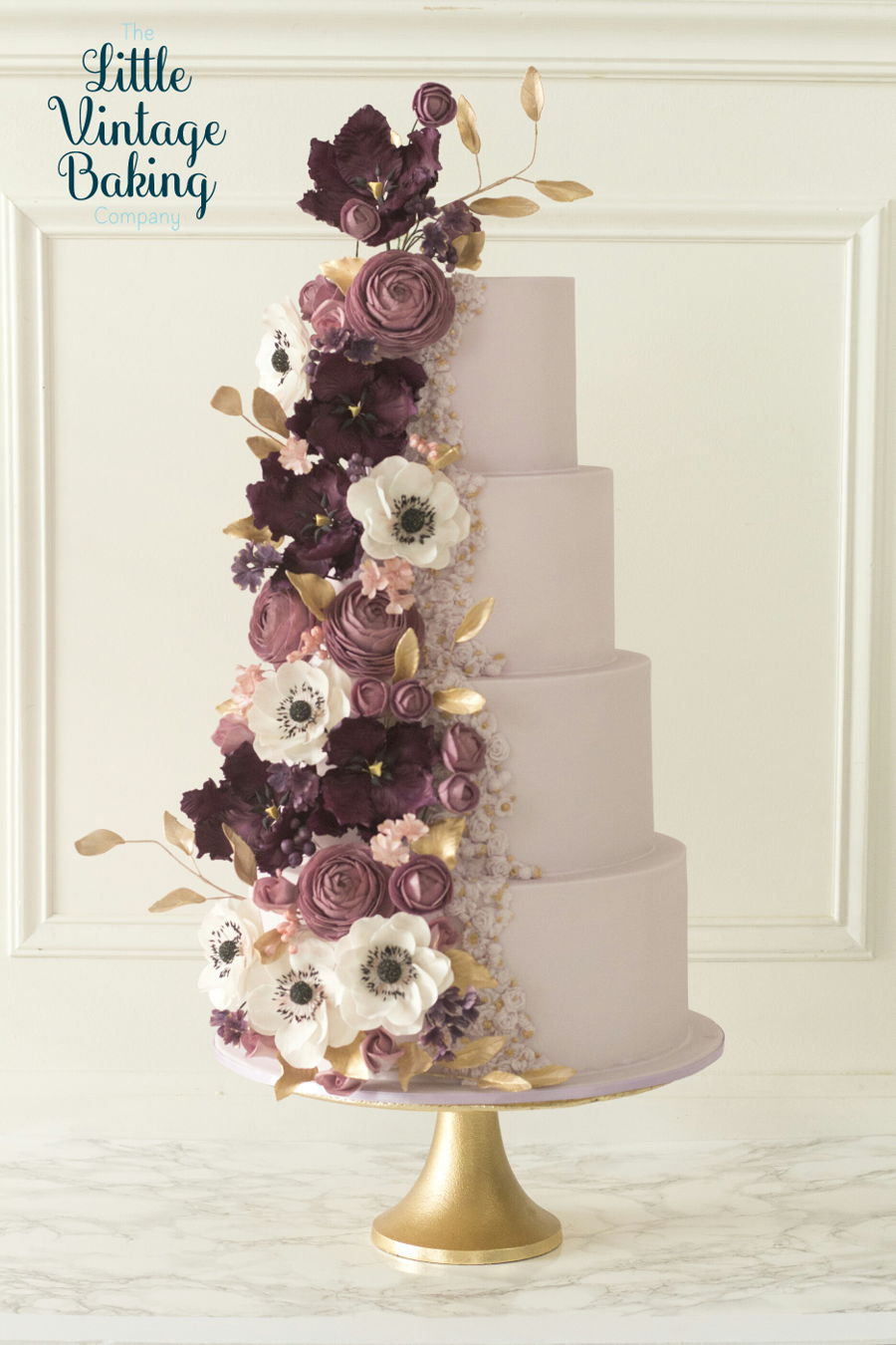 Bas Relief And Florals Purple Wedding Cake on Cake Central