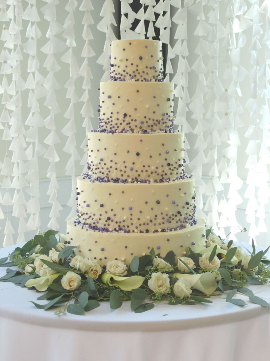 Cascading Pearls Wedding Cake on Cake Central