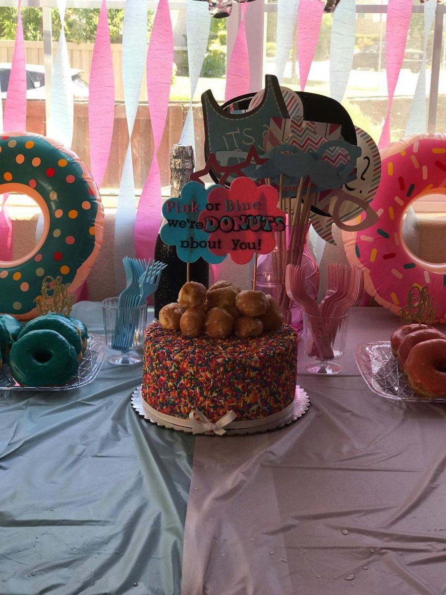 Donuts Gender Reveal Cake - CakeCentral.com
