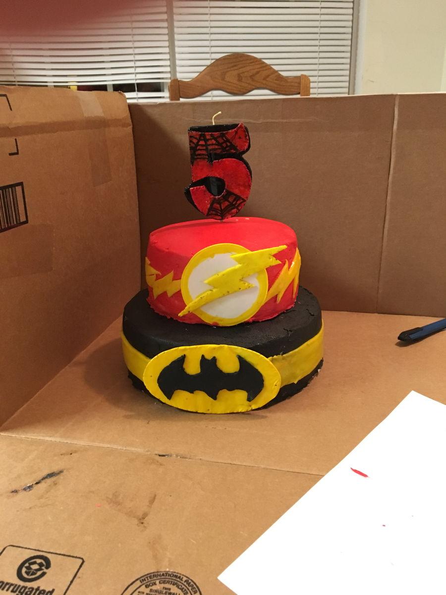 Flashbatmanspiderman Birthday Cake Cakecentral