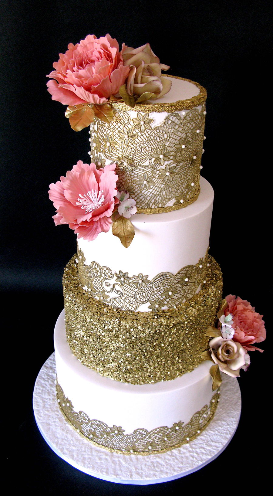 Gold Lace Wedding Cake Cakecentral Com