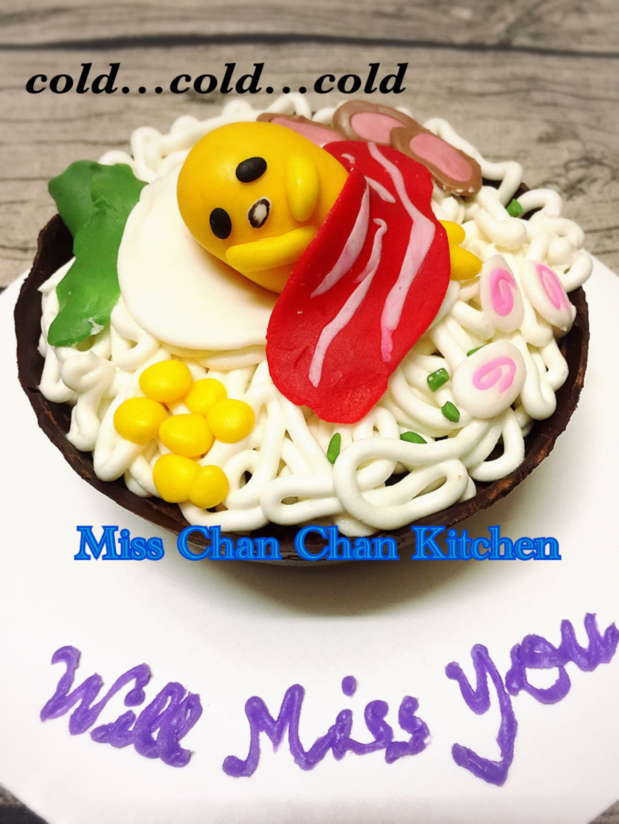 Gudetama Ramen Farewell Cake ~ Dark Chocolate Mousse Cake With A Chocolate Bowl Shell on Cake Central