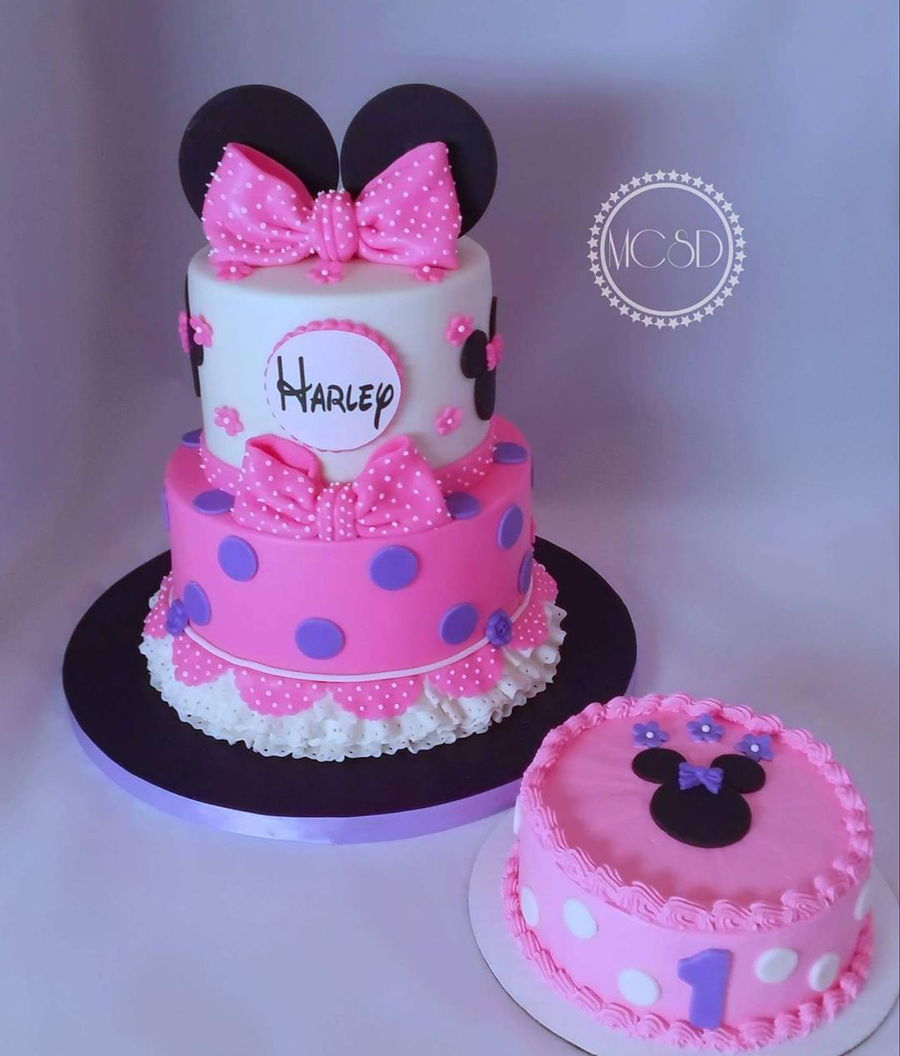 Miraculous Minnie Mouse 1St Birthday Cake Smash Cake Cakecentral Com Personalised Birthday Cards Veneteletsinfo