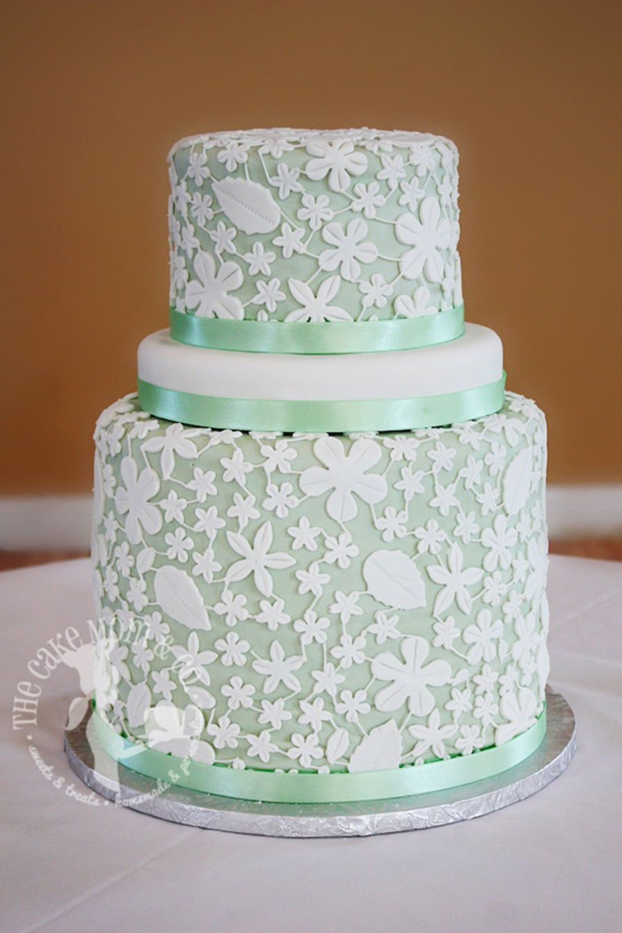 Mint Green Lace Wedding Cake - CakeCentral.com