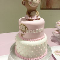 1St Birthday Party ~ Pink Baby Girl Monkey Theme Party Fondant cake