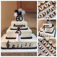 60Th Birthday Celebration Buttercream 8-12-16 tier music themed 60th birthday cake with complimentary cupcakes in black, white, and silver. Happy Birthday runs...