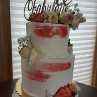 85Th Birthday 85th Birthday of my great aunt, Beautiful buttercream with red smear, roses to top it off, strawberries