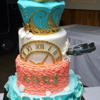 Back To The Future Grad Cake This cake was inspired by the Prom Under the Sea prom scene in the movie. I incorporated the clock and a Delorean car crashing into the...