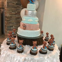 Bears Majestic Welcome Baby Cake Delicate/rustic themed creation.