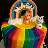 Birthday Cake... Rainbow and kittens birthday cake!!! Even the inside was the colors of the rainbow..