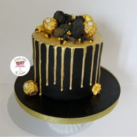 Black And Gold Drip Cake For A Huddersfield Customer. Black and gold drip cake for a Huddersfield Customer.