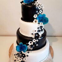 Black And White Wedding Cake Wedding cake with black and white fondant, flowers and blue orchids.