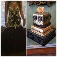 Black N Gold Night I made this cake for an engagement to match the bride's dress. It was a dress she picked up online.