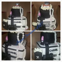 Chanel Themed Cake 2 tier (6 inch circle on top of an 8 inch square)