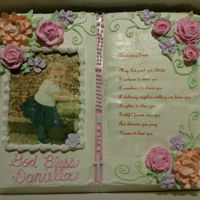 Christening Cake White almond cake and almond icing. Edible images on wafer paper.