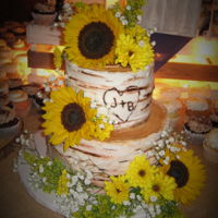 Country Sunflowers And Birch Tree Buttercream frosted. Made for a friends beautiful, country, barn wedding