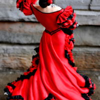 "Flamenco Dancer Dancer is about 12"" tall, made of a modeling chocolate, fondant mixture. Her dress is made of fondant and gum paste."