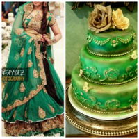 Green And Gold Wedding Cake This cake was also made to match the bride's dress. This was done using the airbrush. The dress in the picture is not the orginal...