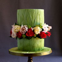 Green Floral Cake anniversary cake