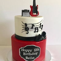 "Guitar Cake 9"" + 7"" w/ guitarist and amp"