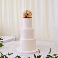 Holly Rose Wedding cake with lace brush embroidery to match the bride's wedding dress – 'Martha' from the...