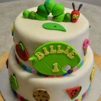 Hungry Caterpillar White Chocolate Mud Cake with Fondant and Fondant Accents