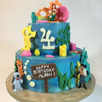 Little Mermaid Birthday Cake Used modeling chocolate for the decor. Characters were toys.