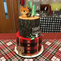 Lumberjack Forest Animal Cake I made this cake for my cousins baby shower. The theme was lumberjack/forest animals
