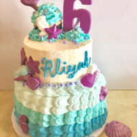 Mermaid Cake And Cupcakes This is a two tiered white cake with buttercream icing. I used an ombre effect on the bottom layer of the cake. The details were made with...