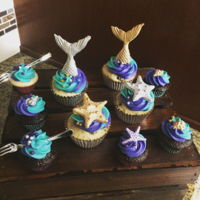 Mermaid Cupcakes Mermaid cupcakes to match the mermaid cake, chocolate and vanilla with cream cheese frosting dyed to match the party