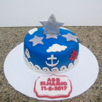Nautical Themed Cake chocolate cake covered and decorated in fondant
