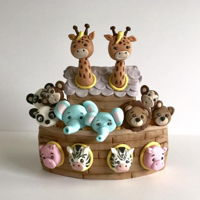 Noah's Ark Cake Topper All sculpted from modeling chocolate and fondant using Shawna Mc Greevy tutorial