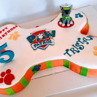 Paw Patrol Made this bone shaped paw patrol cake for my sweet little buddy Tristan. All decorations are handmade from fondant/gumpaste.