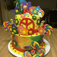 Peace 1St Birthday Cake Was asked to do a colorful 1st birthday cake using rainbows and the peace sign