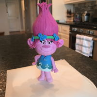 Poppy Troll Cake Topper I made this poppy cake topper out of gum paste.