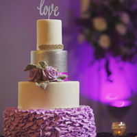 Purple Wedding Cake Modern wedding cake with buttercream feather design