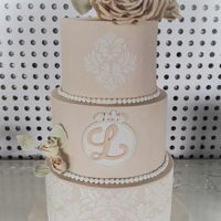 Romantic 15Th Birthday Cake Leticia wanted a very romantic cake for her 15th birthday party. I made this three tiered cake in a soft colour with damask stencil pattern...