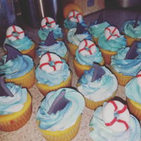 Shark Week Cupcakes Lemon cake with raspberry filling, fondant accents