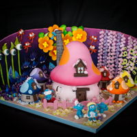 Smurfs Made for my niece Bella's tenth birthday. Trying out the idea of a diorama - much more room for sugar stuff.