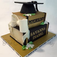 Stacked Books Graduation Cake Fondant covered stacked books for a graduation cake