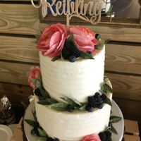 Textured Buttercream Cake W Wafer Paper Florals This cake has coral wafer paper garden roses, as well as wafer paper olive branches with berry accents. Matching dessert table with cake...