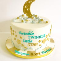 "Twinkle Twinkle Baby Shower 9"" fondant cake, gold TMP gold mixed w/ vodka and airbrushed"