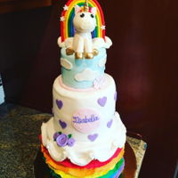 Unicorns And Rainbows Cake for my niece I did last year, vanilla cake with cookies and cream filling