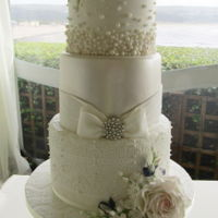 Vintage Pearls And Lace Wedding Cake Vintage pearls and lace wedding cake
