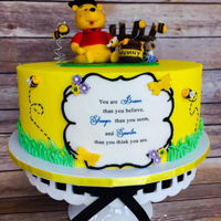 Winnie The Pooh Graduation Cake Winnie the Pooh Graduation Cake. Edible image with Christopher Robin quote. Handmade fondant characters.