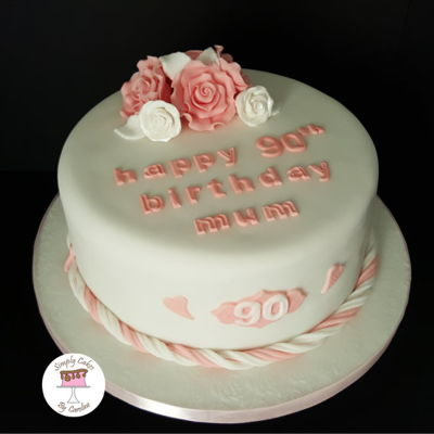 90Th Birthday Roses Cake For A Huddersfield Customer.
