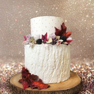 Autumnal Sparkle Edible leaves & flowers ... chocolate cake