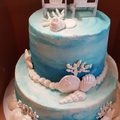 Beach Themed Cake Hombre Buttercream with molded candy shells